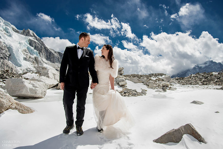 travel to brave deep snow to married on everest