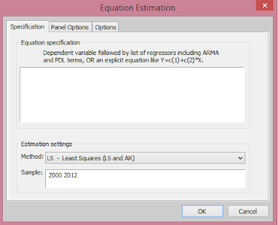EViews: Equation Estimation Dialog Box from cruncheconometrix.com.ng
