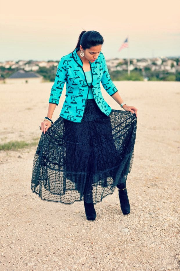 Telephone Jacket, Crazy & Co., Lace Skirt, High Boots, Diwali Collection Half Moon Earrings, Tanvii.com