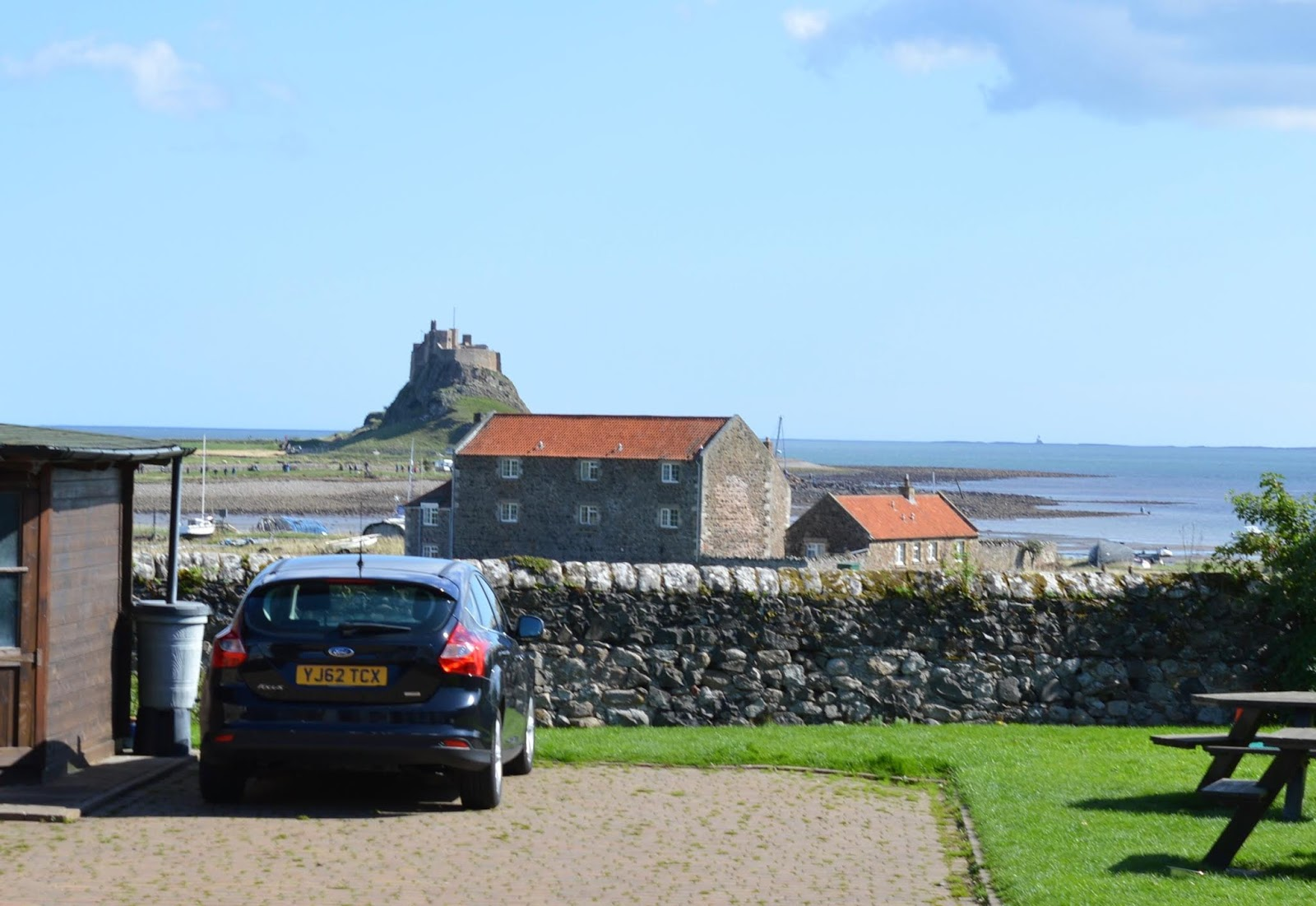 The Holy Island of Lindisfarne, Northumberland - what to see and do during a half day visit - view from the manor house hotel beer garden