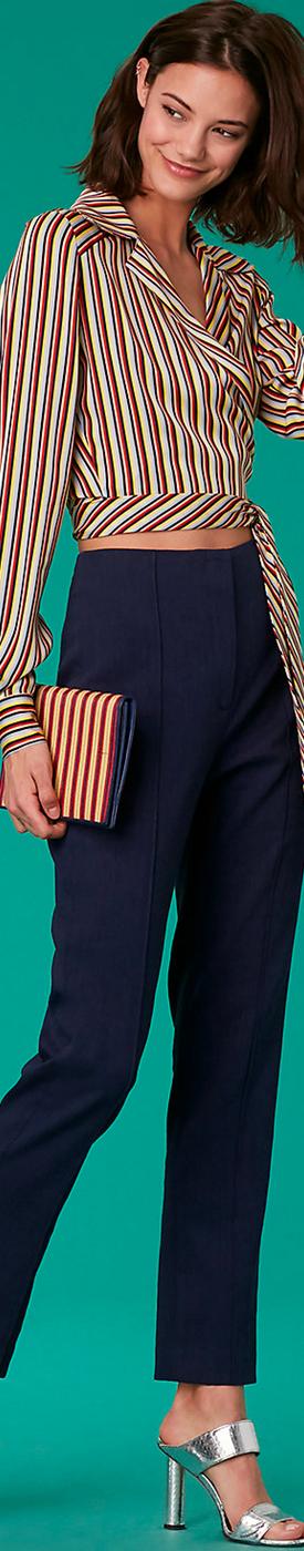 Diane Von Furstenberg Long-Sleeve Deep-V Wrap Blouse