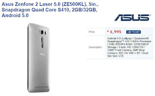 Update Upgraded Asus Zenfone 2 Laser ZE500KL 32GB 13MP Rear Camera Appear Via Villman And Lazada Priced At 6995 Pesos Click Picture For Product Page