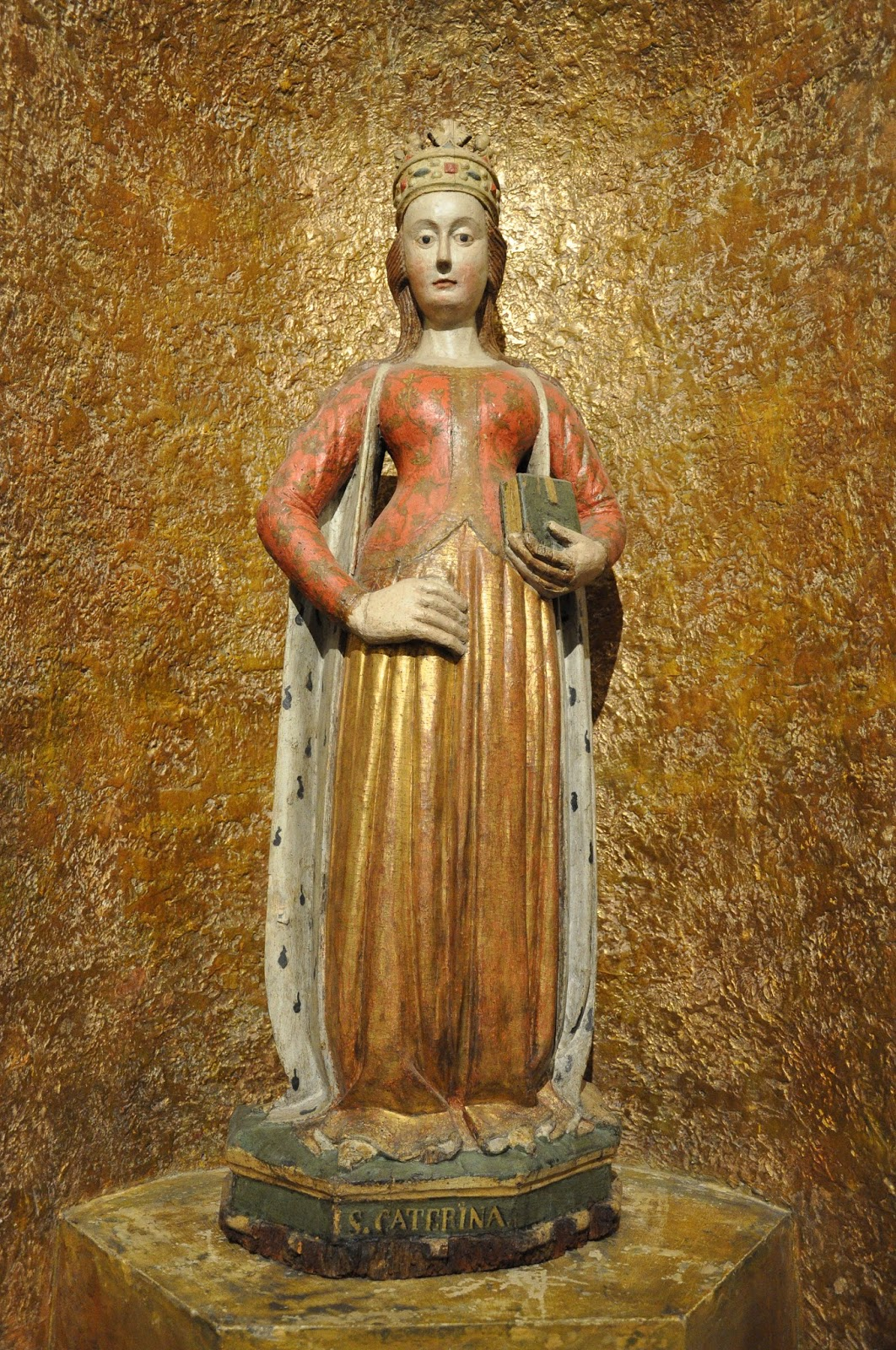 A figure of St. Catherine at the entrance to the Antique Art Museum, Palazzo Madama, Turin, Italy
