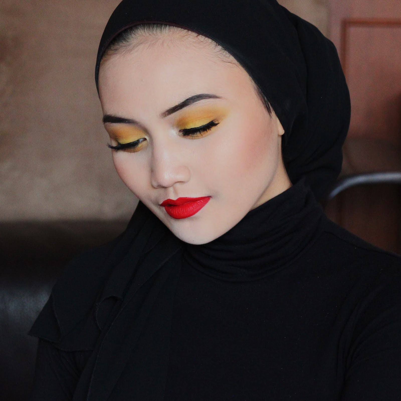 Punk Yellow Eyeshadow & Red Lip Makeup Tutorial by Brunei Blogger Bash Harry