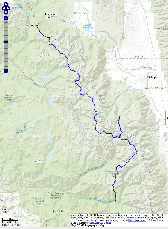 GPS track of the Sierra High Route shown on a topographic map