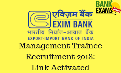 EXIM Bank Recuitment 2018: Link Activated