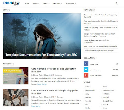 Rekomendasi Template Blogger Premium, Theme rianseo Simple dan Fast Loading