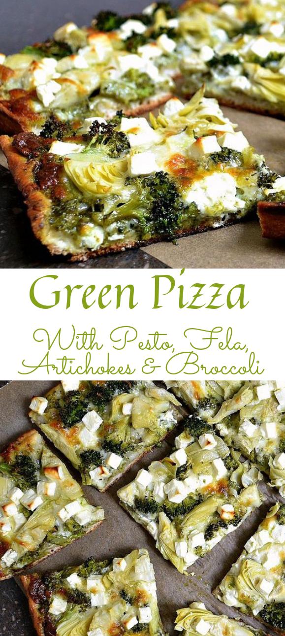 GREEN PIZZA WITH PESTO, FETA, ARTICHOKES, AND BROCCOLI #vegetarian #vegan