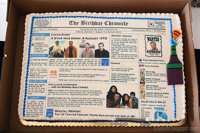 spusht | newspaper style cake | naughty forty birthday cake surprise