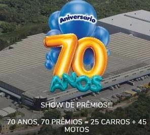 Promoção 70 Anos Tambasa Atacadistas 2019 Show de Prêmios 25 carros 45 Motos