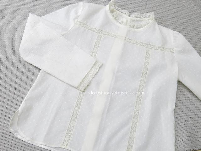 blusa de plumeti y encajes valencienne