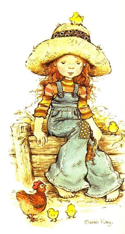 Desenho de Sarah Kay - Galinha com Pintos