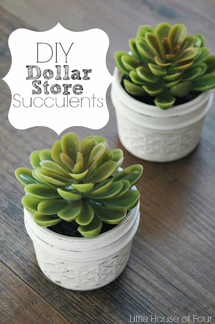 Dollar store faux succulents in jelly jars