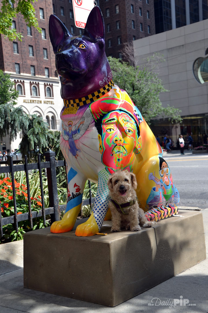 Beautiful purple German Shepard statue  is part K-9s for Chicago