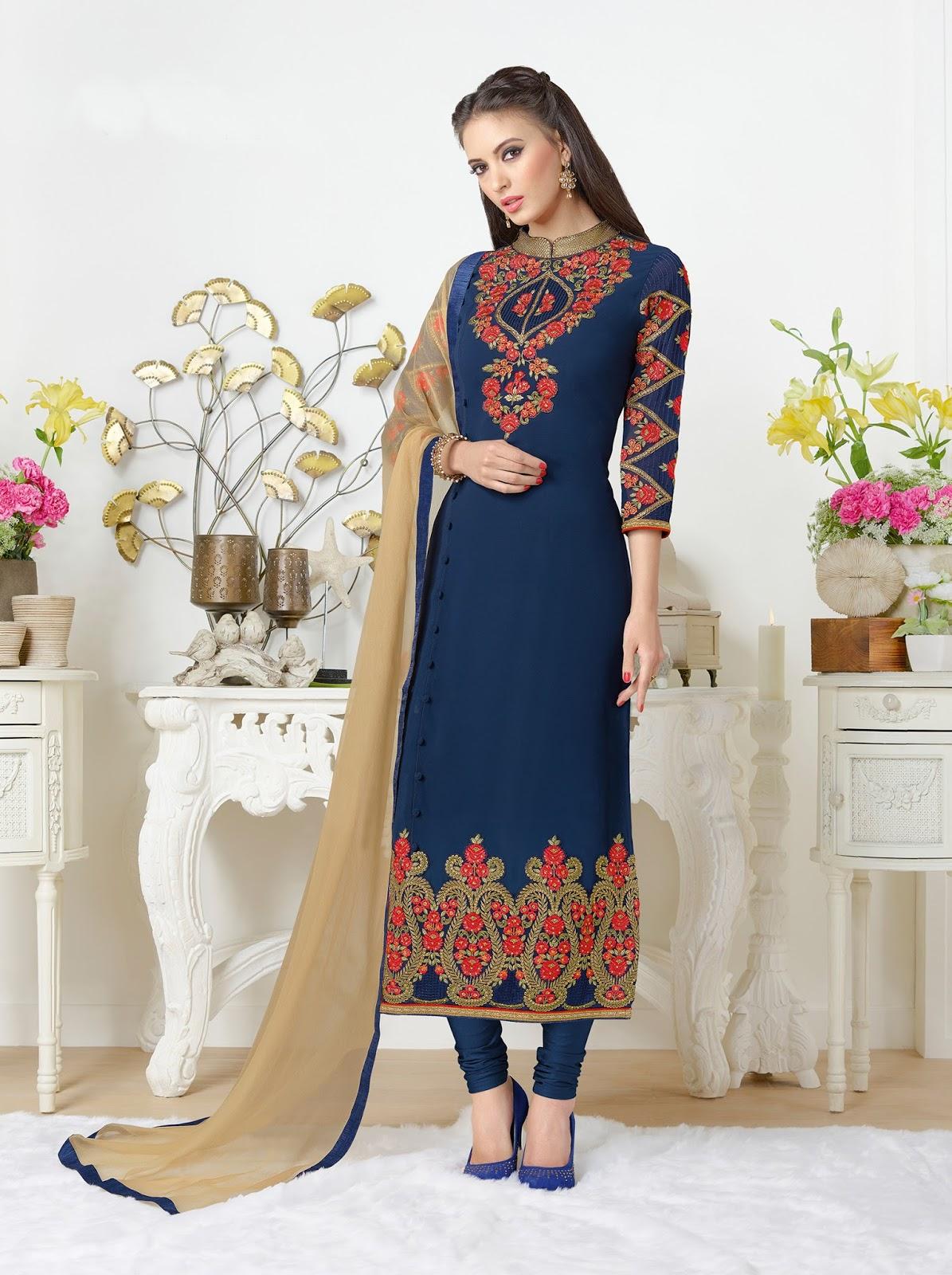 Catalog No.379 – Simple And Beautiful Georgette Straight Salwar Kameez