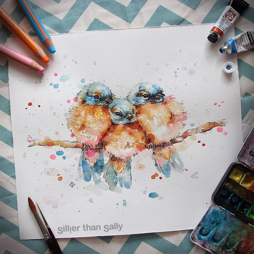 05-Fluffy-Podgy-Birds-Sally-Walsh-sillierthansally-Watercolour-Portraits-Paintings-of-Wildlife-www-designstack-co