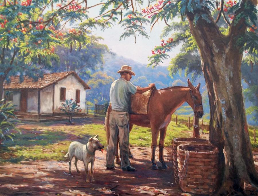 Cuadros modernos pinturas y dibujos cuadros campesinos de paisajes brasile os - Cuadros de vacas ...