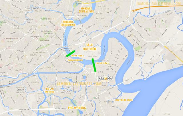 Vị trí kết nối của Jamona Golden Silk quận 7 thuận lợi hàng đầu tại Nam Sài Gòn.