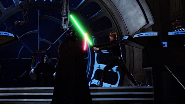 The Emperor watches Darth Vader and Luke Skywalker's light sabre duel