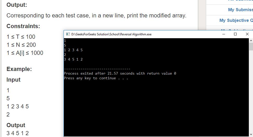 "Geeksforgeeks Solution For "" Reversal Algorithm """