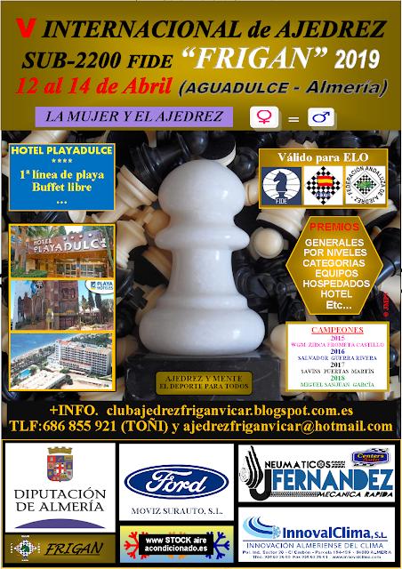 """V Torneo de ajedrez Sub2200 """"Frigan"""" (12, 13 y 14 abril de 2019)"""
