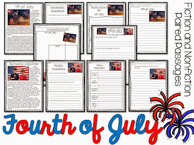 Fourth of July paired passages for the summer- summer reading activities for june and july