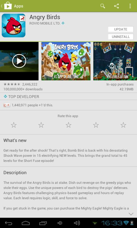 Play Store Angry Birds
