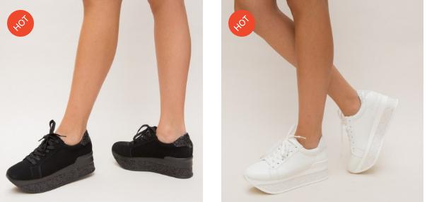 Adidasi fete negri, albi cu platforma ieftini si frumosi 2019