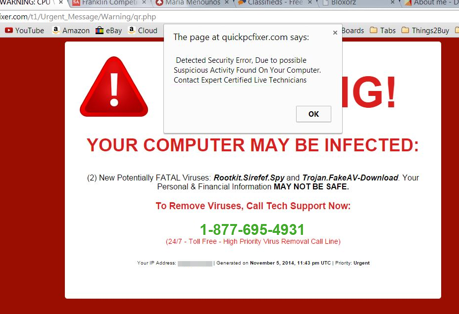 1-877-695-4931 Warning! Your Computer May be Infected Scam