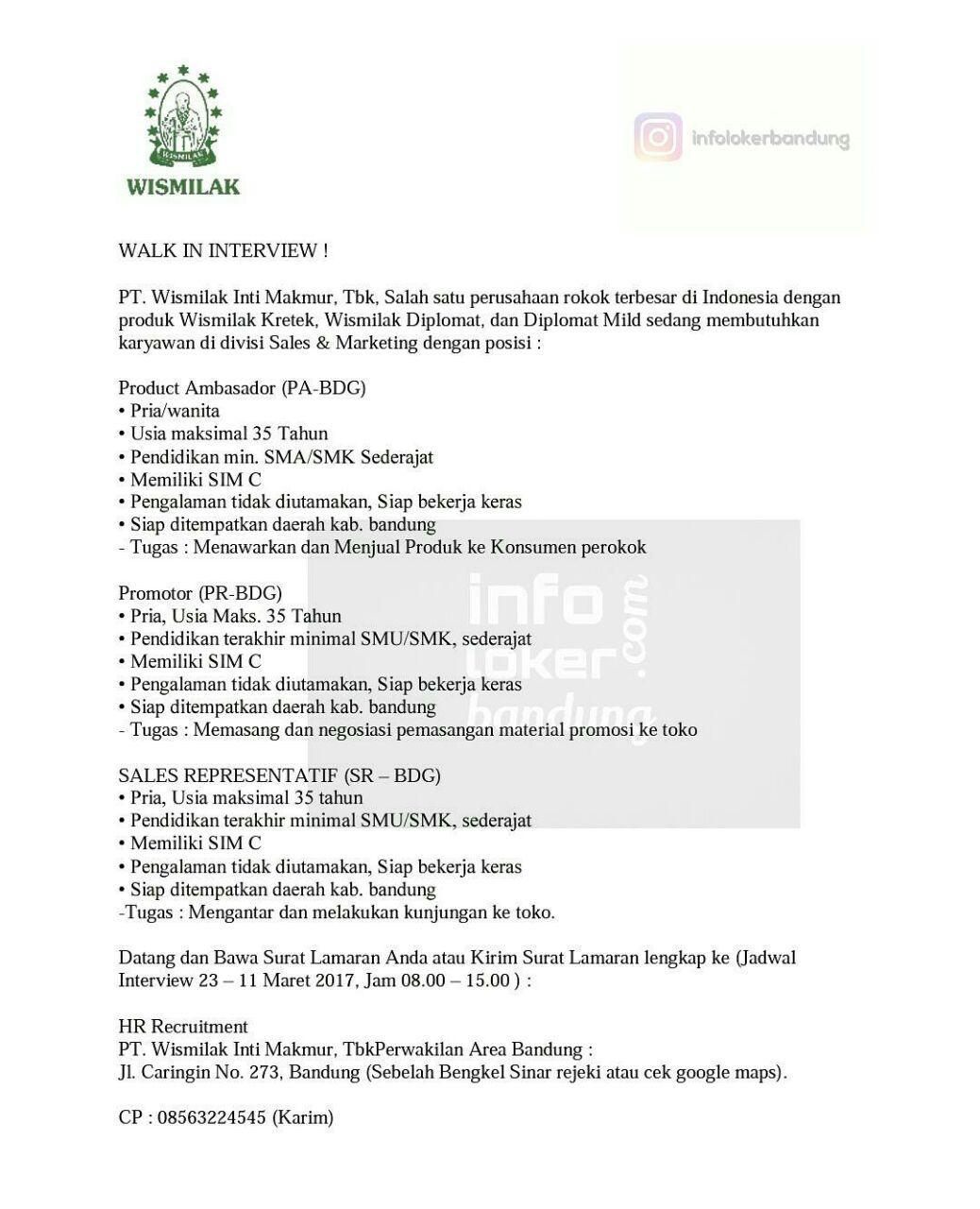 Lowongan Kerja PT. Wismilak Inti Makmur Tbk Bandung Februari 2017