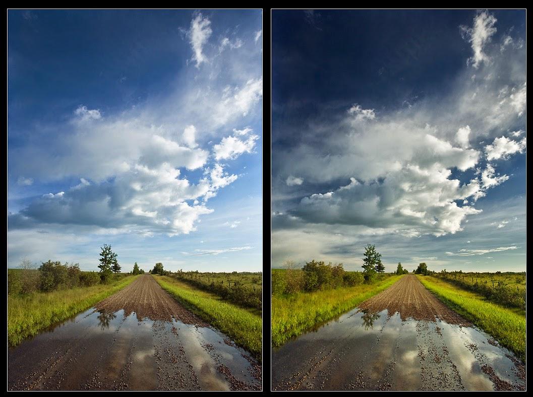 مثال  يوضح تأثير مرشح  الإستقطاب على الصور