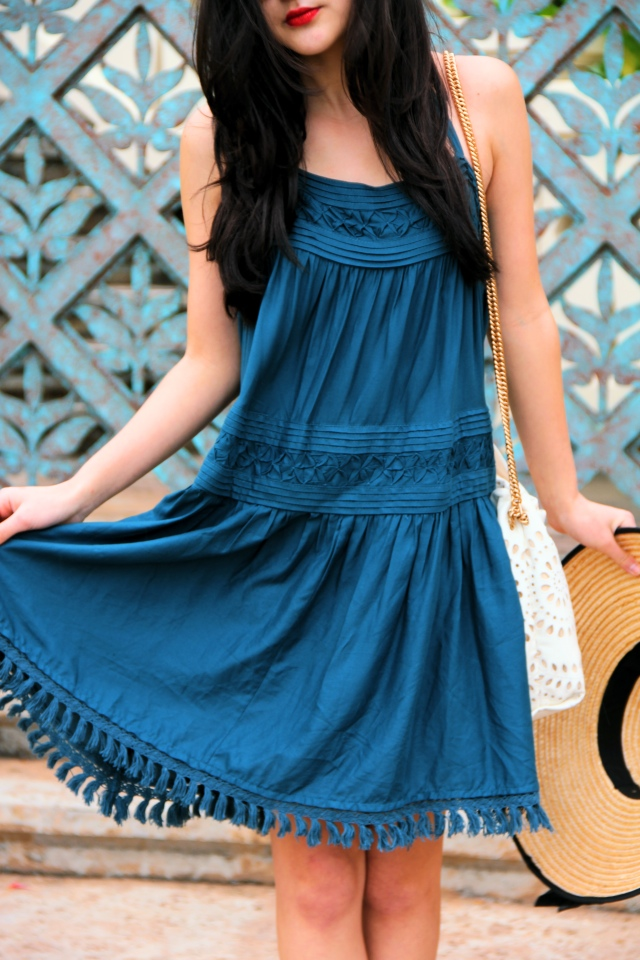 anthropologie turquoise tassel blue sundress hawaii aulani
