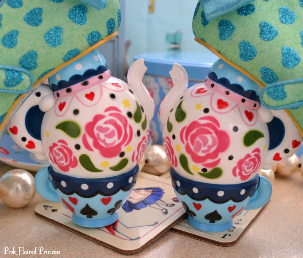 Irregular Choice Alice teapot teacup heels facing with pearls and cake tin
