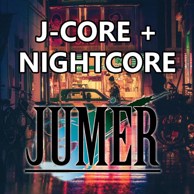 Imagen con el logotipo de DJ JUMER y las letras J-Core + Nightcore en blanco