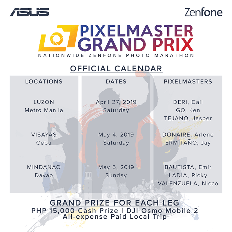 The schedule for the ASUS PixelMaster Grand Prix