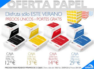 Oferta de papel. Portes gratis y caja 2500 hojas a partir de 12,85 euros