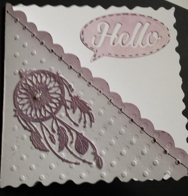 """Hello - Dreamcatcher 6"""" white square card"""