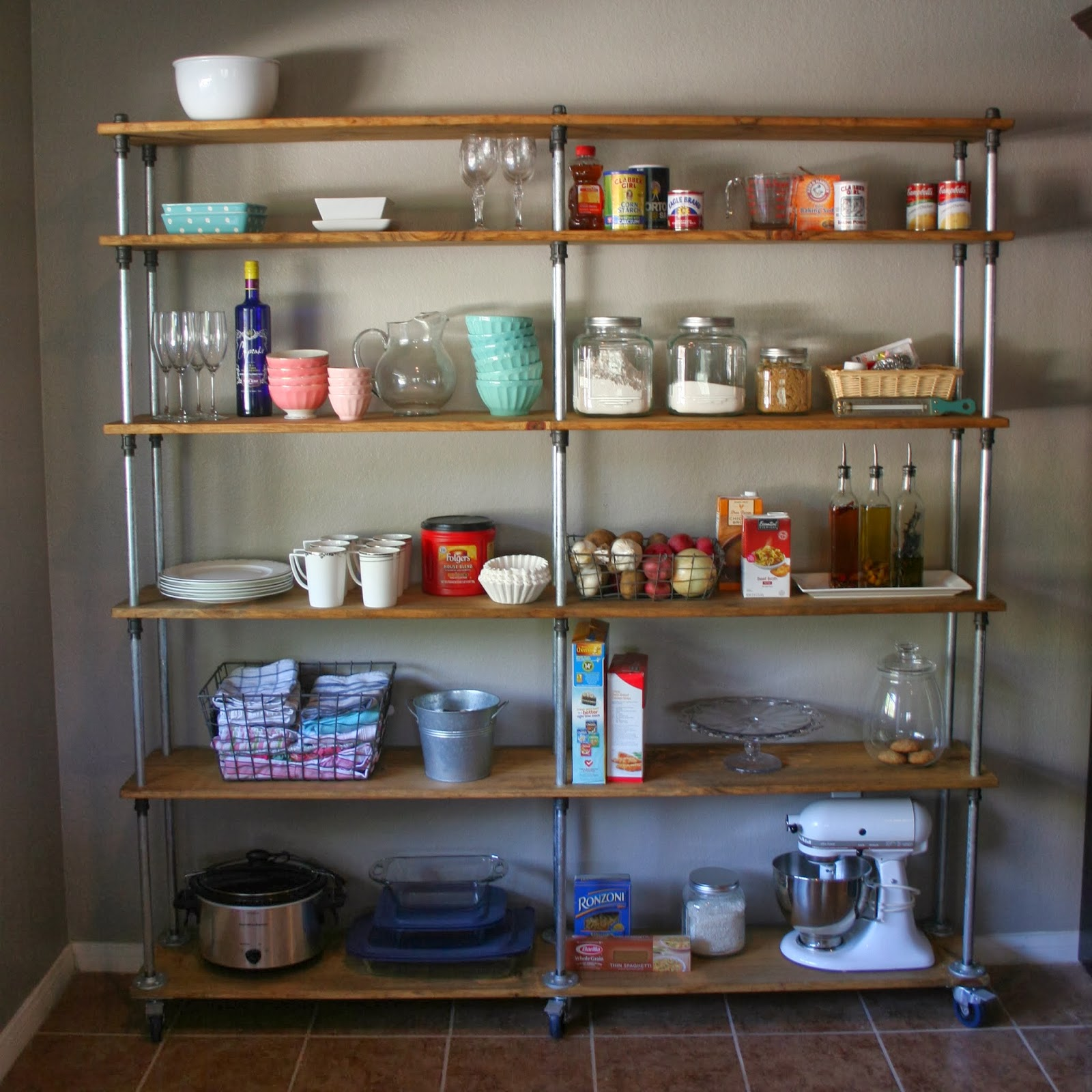 Industrial Kitchen Shelving: Just A Darling Life: A Look Into My House: Kitchen Shelving
