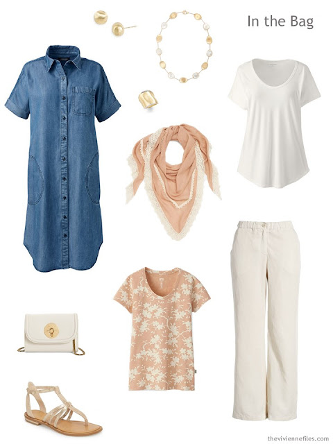 Tote Bag Travel capsule wardrobe in chambray, apricot and ivory