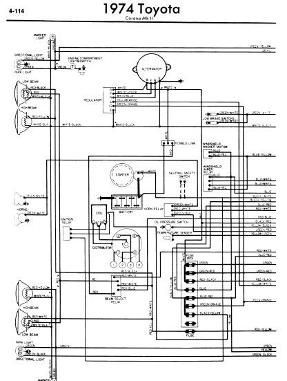 repairmanuals: Toyota Corona Mark II 1974 Wiring Diagrams