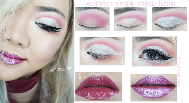 valentine makeup metallic tutorial