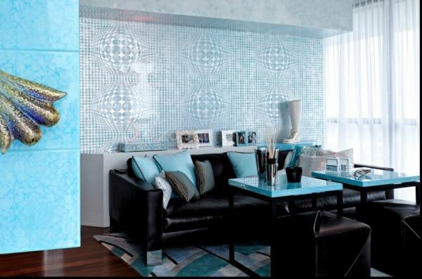 Salas color azul colores en casa - Azul turquesa pared ...
