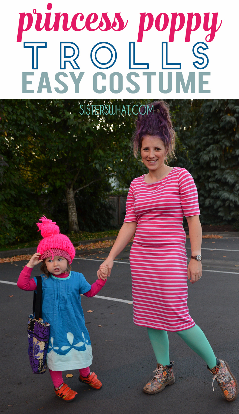 Easy Princess Poppy trolls costume with mama troll