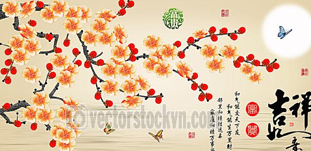 Vector Tranh Hoa Dán tường