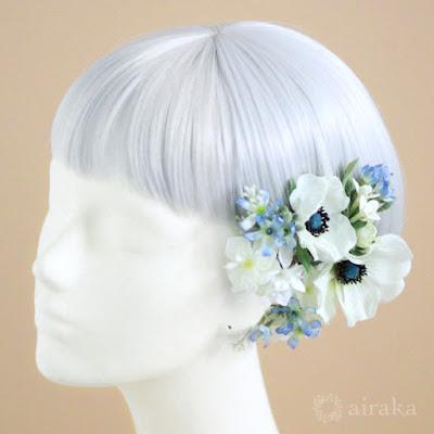ブルースターの髪飾り-ウェディングブーケと花髪飾りairaka