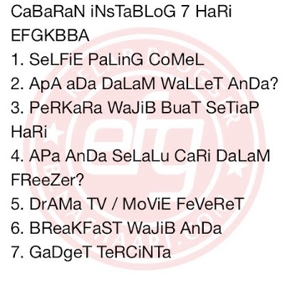 Cabaran7Hari EFGKBBA -  Drama TV/Movie Feveret