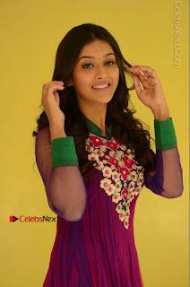 Actress Pooja Jhaveri Latest Stills in Purple Salwar Kameezt at Dwaraka Success Meet  0059.JPG