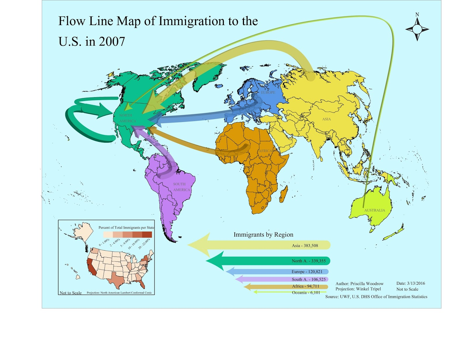this map shows the proportion of immigration by continent to the u s in the year 2007 the choropleth inset map shows what percentage of immigrants went to
