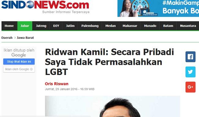 Calon Gubernur Jabar Ridwan Kamil dianggap dukung LGBT karena tak permasalahkan eksistensi mereka secara pribadi.