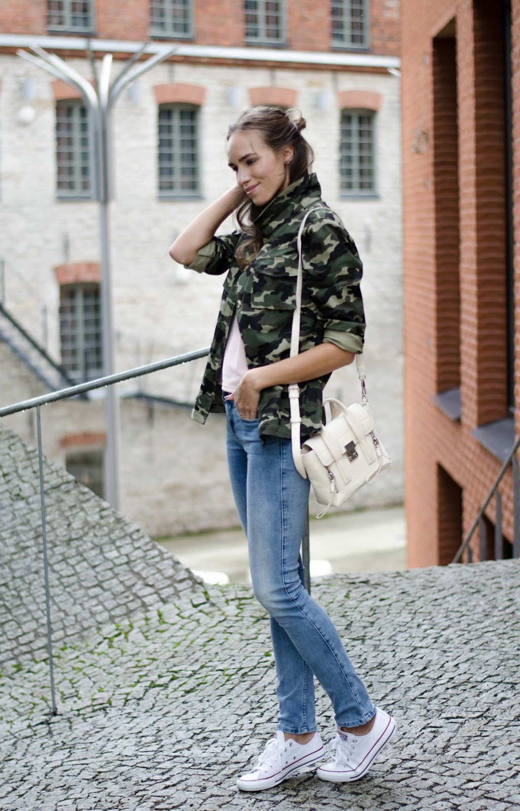 army jacket casual fall outfit